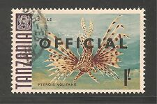 Tanzania #O15 (A4)  VF POSTAL USED - 1973 1sh Turkeyfish - Fish - Official