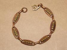 Link Bracelet 7 1/2 inchges Vintage Solid Copper Beaded Oval