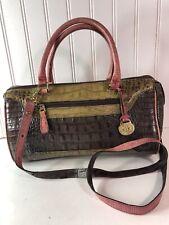 BRAHMIN Satchel  PURSE Bag Crossbody Pink Green Brown