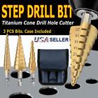 "3Pcs Drill Bit Titanium Nitride Coated Set Steel Step Quick Change 1/4"" Shank"