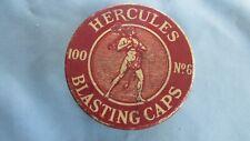 Hercules Powder Company 100 No 6 Round Brown Blasting Cap Tin-Hercules Graphics