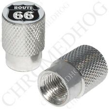 Silver - Billet Aluminum Custom Valve Caps for Motorcycle & Cars - US Route 66