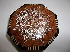 Vintage  INLAID WOOD And SHELL Trinket BOX Middle East