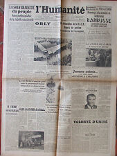 L'Humanité - (9/10 sept 1945) Orly - Souveraineté peuple - Foire de Paris-Frenay