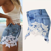 Women's Floral High Waist Ripped Shorts Jeans Denim Lace Hot Pants Summer Casual
