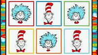 Fabric Dr Seuss Cat in the Hat Panel Kaufman Cotton by the 1/4 yard 95203 24x42