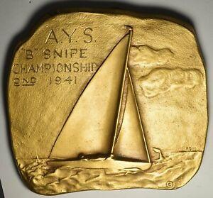 1941 Trophy Plaque for A Y C SNIPE Class Sailboat Race