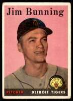 1958 Topps Poor/creased Jim Bunning Detroit Tigers #115