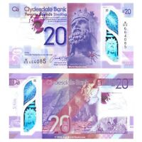 Scotland Clydesdale Bank 20 Pounds £20 2019 (2020) Polymer P-New Banknotes UNC