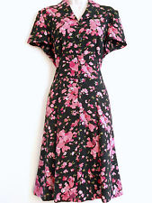 Church Dress MISS DORBY Secretary Black w/ Pink Roses Button Front Sz 10 Petite