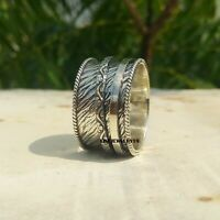 925 Sterling Silver Spinner Ring Wide Band Meditation Statement Jewelry A20