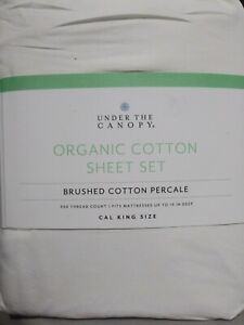 New Under The Canopy Cal King Sheet Set 100% Brushed Organic Cotton color white
