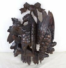 Antique Black Forest Hand Carved Wood Game Birds Wall Plaque - Hunting Trophy