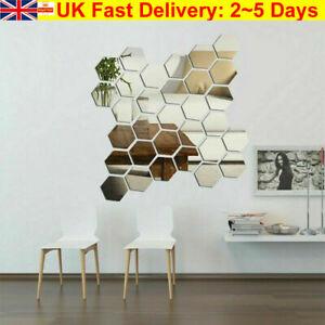 12 Acrylic Mirror Effect Tile Wall Sticker Bathoom Decor Stick On Art Room 3D UK