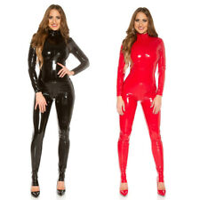 KouCla Latex Look Catsuit Wet Leather Vinyl Jumpsuit Back Zip - Black Red