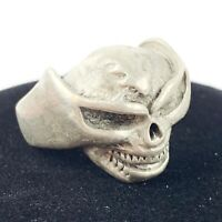 Silver Tone Hammered Worked Metal SKULL Chunky Ring Biker Punk Rocker Sz 9.5