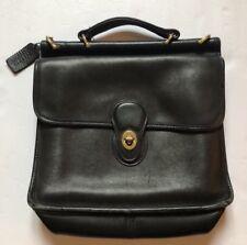 Vintage Coach Black Willis Leather Turnlock Flap Messenger Crossbody #9927