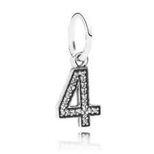 """NEW!! AUTHENTIC PANDORA Number """"4"""" with Clear CZ Pendant - 9112-6"""