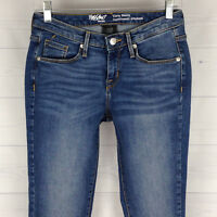 Mossimo POWER Stretch SKINNY Curvy Womens Size 00 Med Wash Mid Rise Jeans in LNC