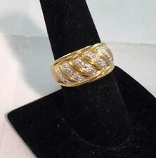 18 KT  Gold Over Sterling Silver Genuine Diamond Accent Ring  Size 9  NEW