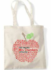 PERSONALISED Thank You Teacher School Gift Cotton Tote Bag - Apple word cloud