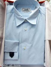 $800 NEW Hermes Mens Blue Dress Shirt H logo 16.5 42 Special Blue Micro Jacquard
