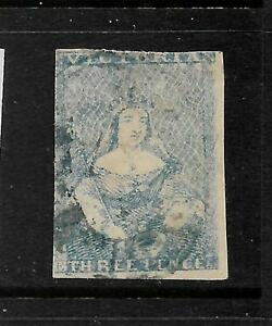 VICTORIA  1850-53  3d  BLUE  QV IMPERF  FU  SG 7a