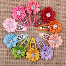 10PCS Mixed Colors Flower Ribbon Hair Clip Accessories For Girls Babies 1 Set