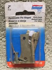 """National Removable Pin Hinges Brass Finish 2""""Replacement Box Lid Door"""