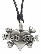 Pewter BAD GIRL HEART Pendant on Black Cord Necklace Nickel Free Crossbones