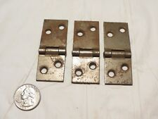 "Antique lot set 3 cast iron square cupboard cabinet door hinges 2 5/8"" X 1"""