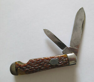 Old 1930s Camillus 2 Blade Bone Easy Open Jack Pocket Knife 4 Line Tang Stamp