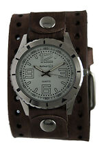 Nemesis White Sporty Racing Watch, Faded Brown Leather Cuff Band, BVHB096W