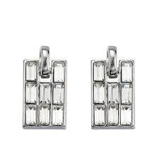Ladies Earrings Silver Rectangle Drop Dangle With Rhinestones Fashion JEWEL UK
