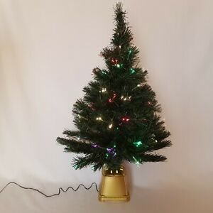 Christmas Tree 28 inch Green Tinsel Fiber Optic Light Up Blinking Branches Bend