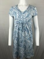 Jones New York Sport Women's knit Dress Size S Blue/white paisley drawstring