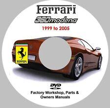 Ferrari 360 Modena Workshop, Parts and Owners Manuals for 1999 - 2005 models.
