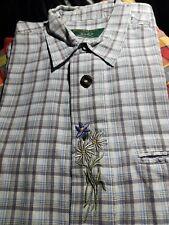 Modisches Trachten Hemd 9172 mit Stickerei lang Arm Farbe weiß oder grün