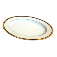 "Noritake Elysee Small Oval Serving Platter 11 7/8"" x 8 5/8"" Black Gold Vintage"