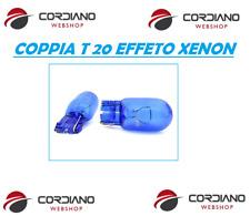 COPPIA LAMPADE TUTTO VETRO T20 BLU BIANCO EFFETTO XENON