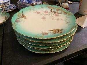 6 Fischer & Mieg Pirkenhammer Porcelain Plates Aesthetic Birds Turquoise Gold
