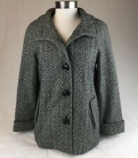 Giacca Tweed Medium Ladies Jacket Black White Wool A Line Stand Up Collar Lined