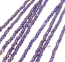 """3MM PURPLE PYRITE GEMSTONE FACETED ROUND 3MM LOOSE BEADS 7.5"""""""