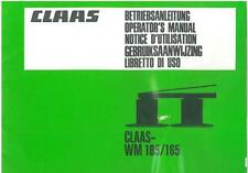 CLAAS MOWER WM165 & WM185 OPERATORS MANUAL