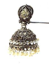 Silver Oxidized Earring Jhumka Jhumki Bali Drop Dangle Long Pushback Jewelry C14