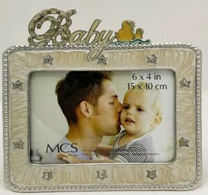 """Baby 6"""" x 4"""" Picture Frame by MCS Design Ducks Stars Crystals Silver"""