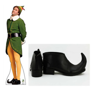 Christmas Buddy the Elf Cosplay Shoes Black Leather Upturned Toes Jester Zapatos