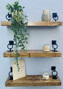 Rustic Floating Shelves Wooden Shelf Chunky Handmade Bespoke Wood with brackets
