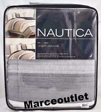 Nautica Tideway KING Cotton Quilt White / Blue / Taupe