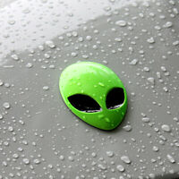 1 Piece Full Metal 3D Green Alien Head Badge Emblem Car Auto Sticker Decals